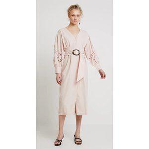 NEW Topshop Cutwork Long Sleeve Midi Dress Blush 6
